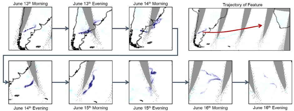 图9:对大气数据集中一片火山灰云的追踪结果,右上角图展示了其移动轨迹。